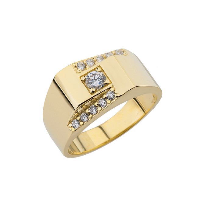 Yellow Gold Diamond Mens Ring