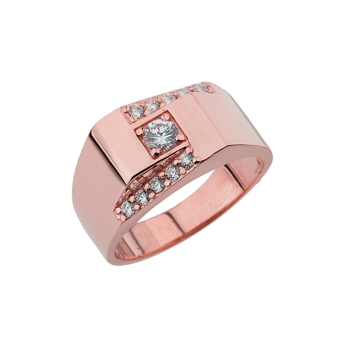 Rose Gold Diamond Mens Ring