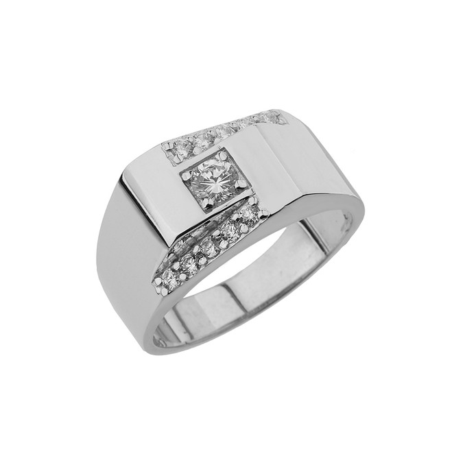 White Gold Diamond Mens Ring