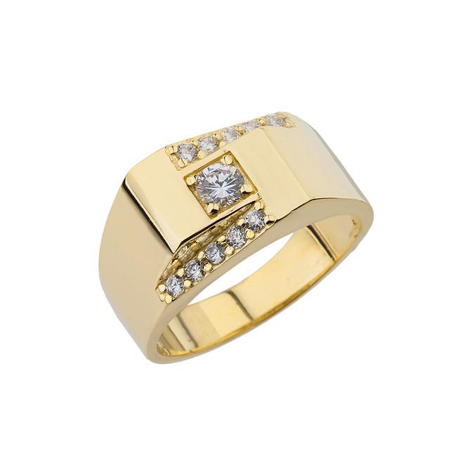 Yellow Gold Geometrical  Men Rings