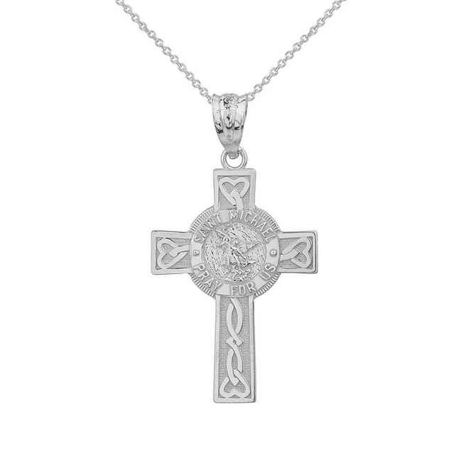 Solid White Gold Saint Michael Pray For Us Celtic Cross Pendant Necklace