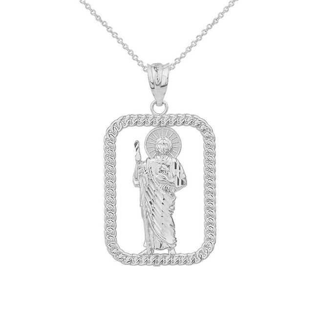 Solid White Gold Rope Frame Diamond Cut Saint Jude Rectangle Pendant Necklace
