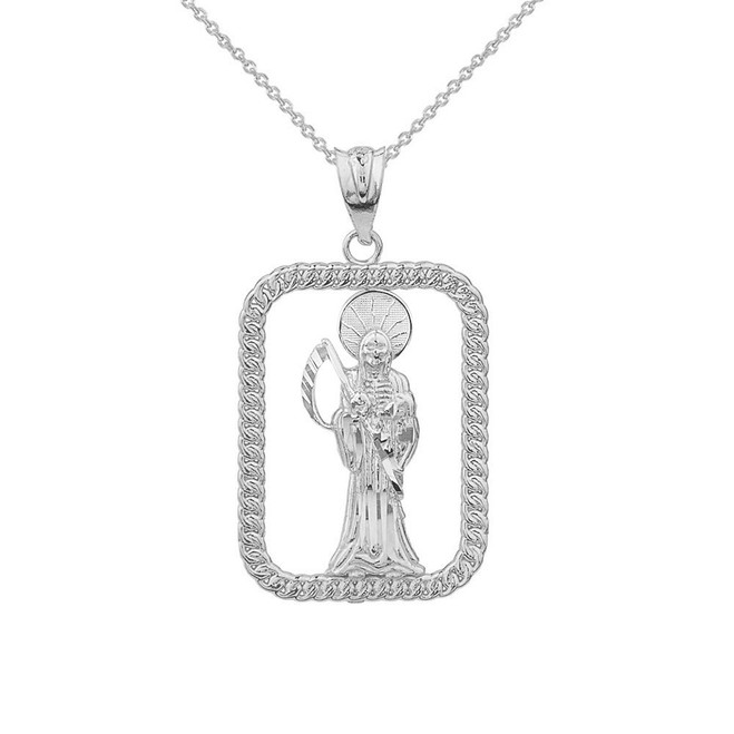 Solid White Gold Rope Frame Diamond Cut Santa Muerte Rectangle Pendant Necklace