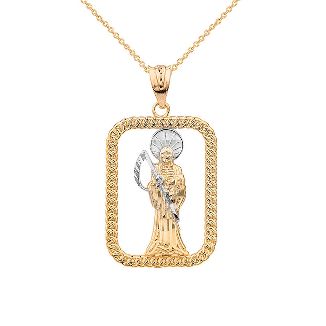 Solid Two Tone Yellow Gold Rope Frame Diamond Cut Santa Muerte Rectangle Pendant Necklace