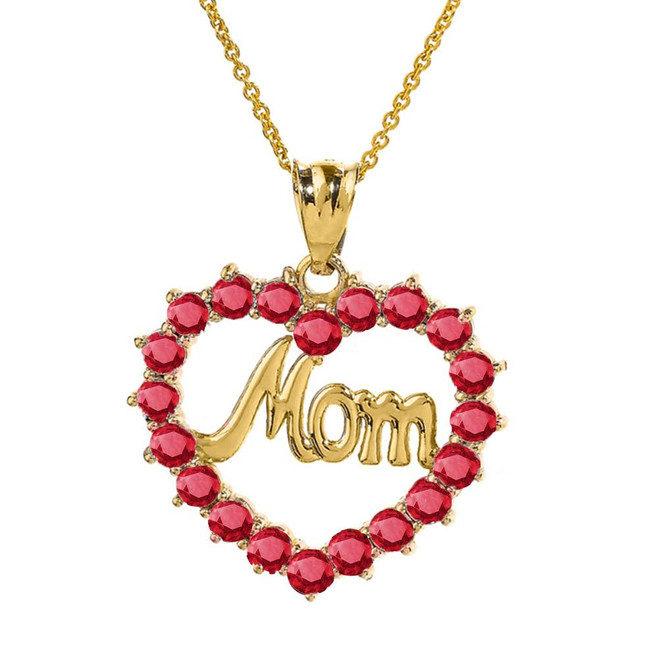 "Yellow Gold ""Mom"" Ruby  (LCR)  Open Heart Pendant Necklace"