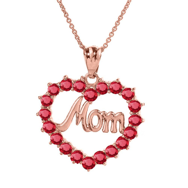 "Rose Gold ""Mom"" Ruby (LCR) Open Heart Pendant Necklace"