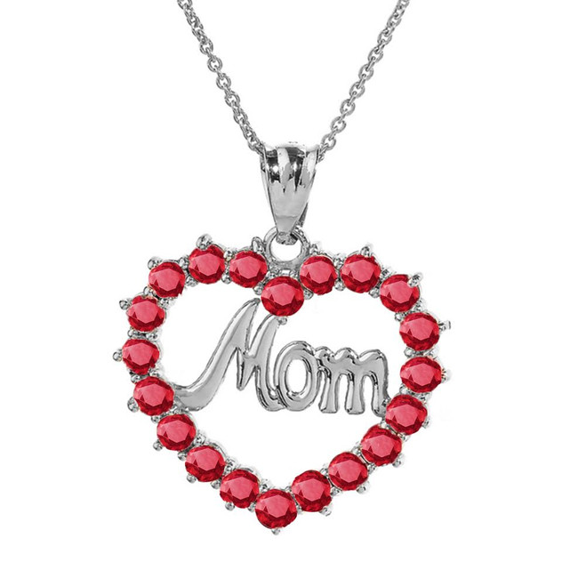 "Sterling Silver ""Mom"" Ruby (LCR) Open Heart Pendant Necklace"