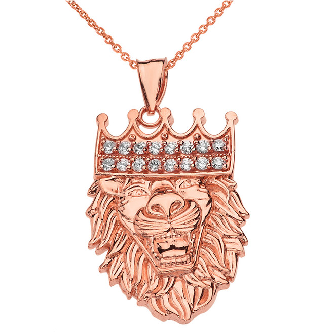 Solid Rose Gold Double Sided Text Embossed Cubic Zirconia Lion King Pendant Necklace