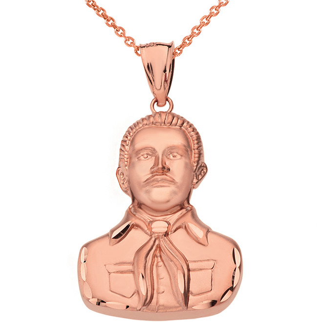 Solid Rose Gold Double Sided Diamond Cut Malverde Pendant Necklace