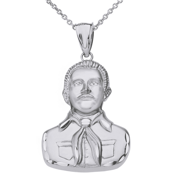 Sterling Silver Double Sided Diamond Cut Malverde Pendant Necklace
