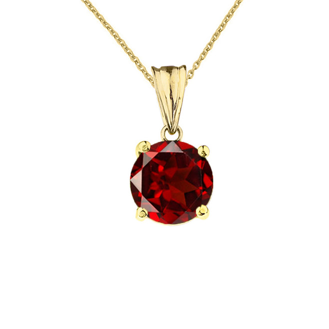 10K Yellow Gold January Birthstone Garnet (LCG) Pendant Necklace