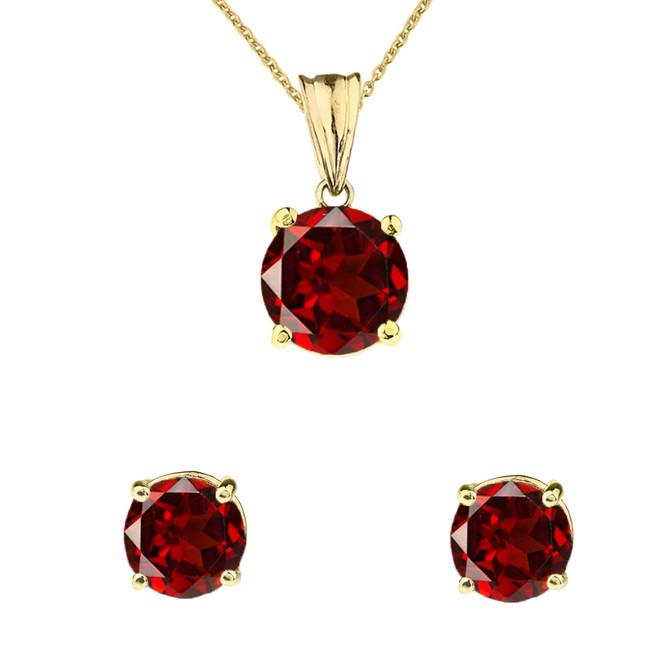 10K Yellow Gold January Birthstone Garnet (LCG) Pendant Necklace & Earring Set