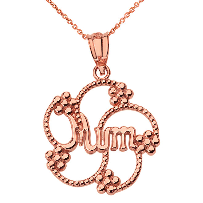 Solid Rose Gold Dotted Texture Swirl Flower Petals Mum Pendant Necklace