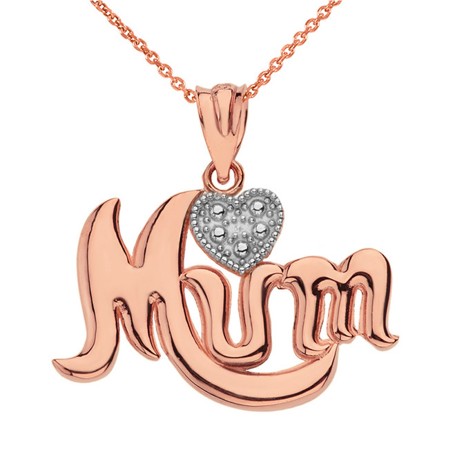 Solid Rose Gold  Rhodium  Heart Diamond Cursive Mum Pendant Necklace
