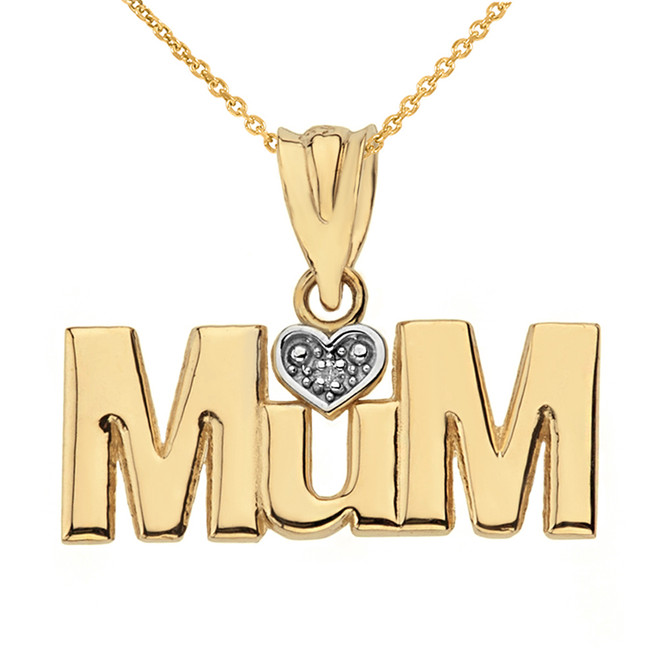 Solid Yellow Gold  Rhodium Heart Diamond Mum Pendant Necklace