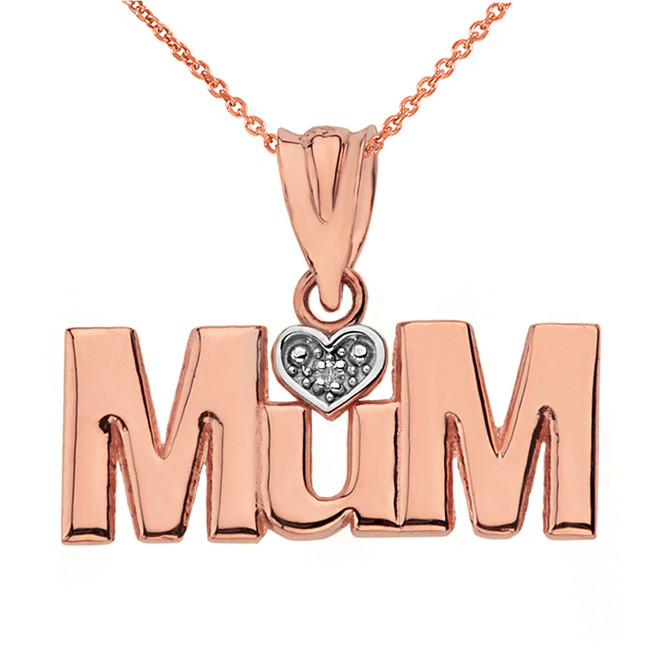 Solid Rose Gold  Rhodium Heart Diamond Mum Pendant Necklace
