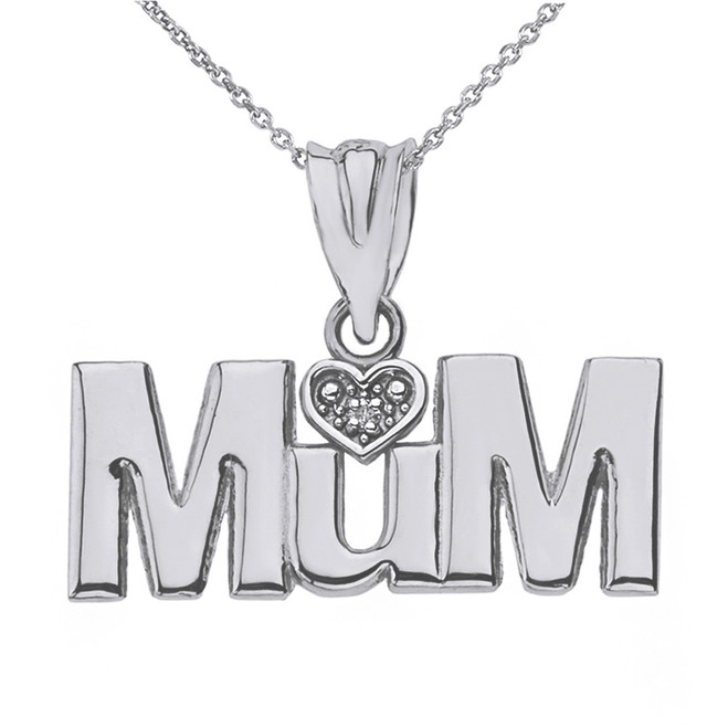 Solid White Gold  Rhodium Heart Diamond Mum Pendant Necklace