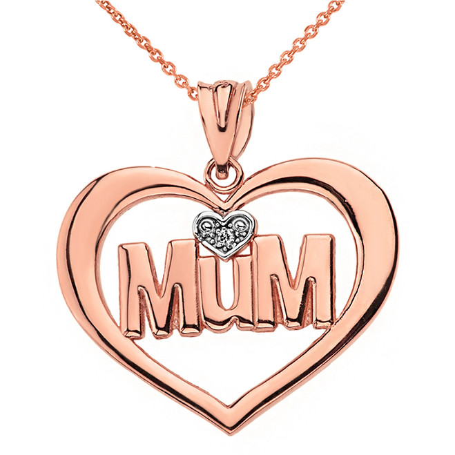 Solid Rose Gold Heart Outline Rhodium Heart Diamond Mum Pendant Necklace