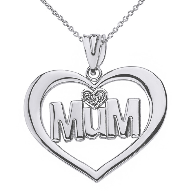 Solid White Gold Heart Outline Rhodium Heart Diamond Mum Pendant Necklace