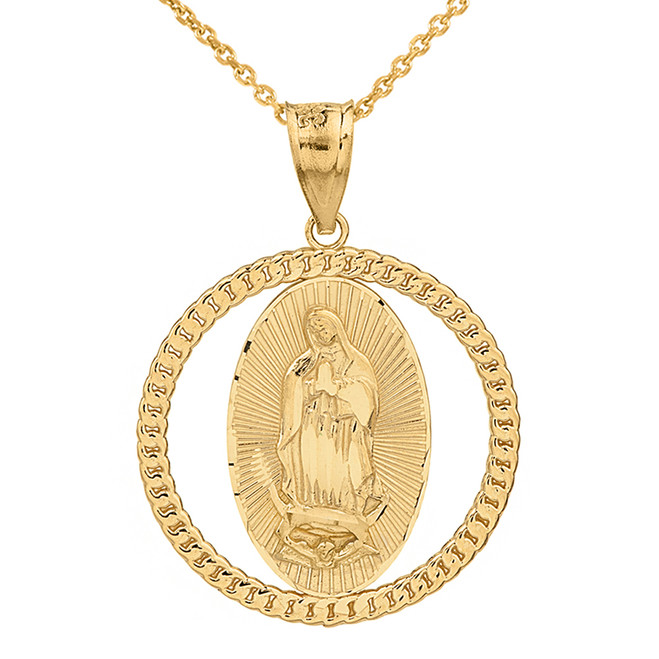 Solid Yellow Gold Cuban Link Circle Frame Diamond Cut Lady of Guadalupe Pendant Necklace