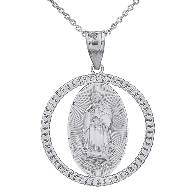 Sterling Silver Cuban Link Circle Frame Diamond Cut Lady of Guadalupe Pendant Necklace