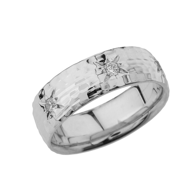 White Gold 7 1\2 Hammered Diamond Mens Wedding Band