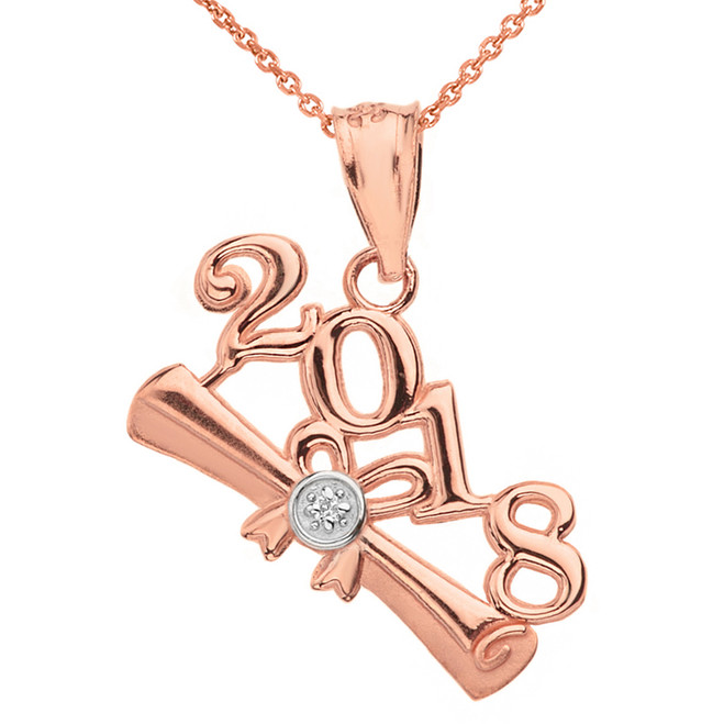 Solid Rose Gold Diamond  Class of 2018  Diploma Pendant Necklace