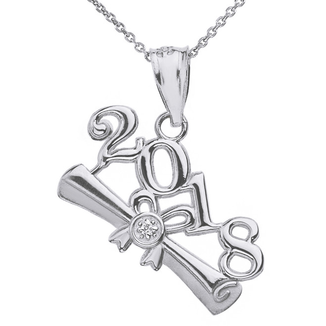 Solid White  Gold Diamond  Class of 2018  Diploma Pendant Necklace