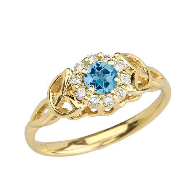 Yellow Gold  Diamond and Blue Topaz   Engagement/Promise Ring