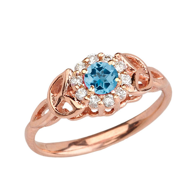 Rose Gold  Diamond and Blue Topaz   Engagement/Promise Ring