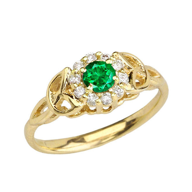 Yellow Gold  Diamond and  Emerald   Engagement/Promise Ring