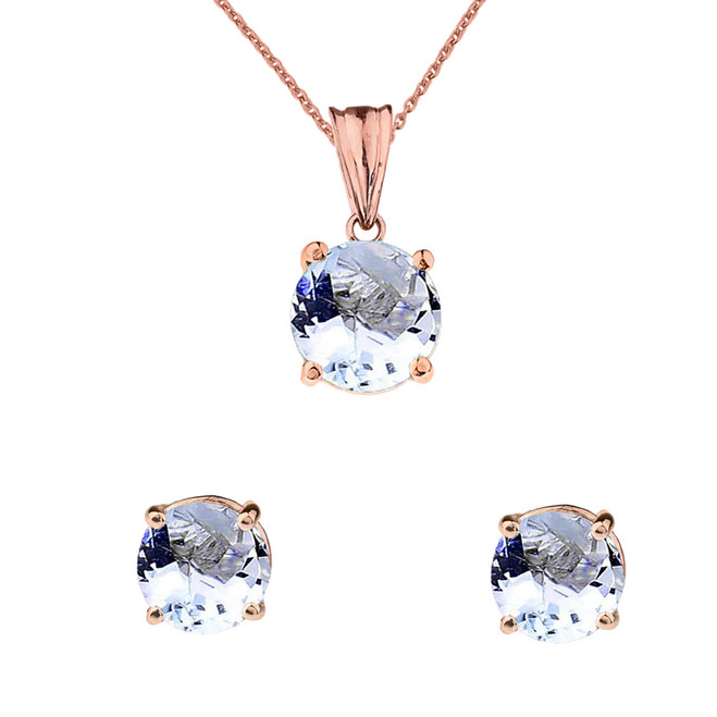 10K Rose Gold March Birthstone Aquamarine (LCAQ) Pendant Necklace & Earring Set