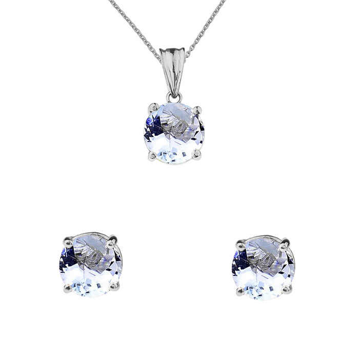 10K White Gold March Birthstone Aquamarine (LCAQ) Pendant Necklace & Earring Set