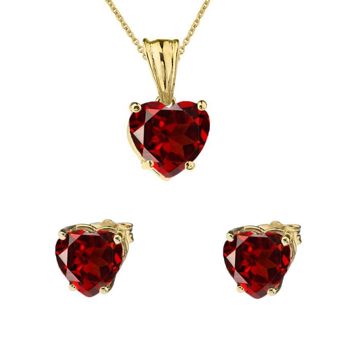 10K Yellow Gold Heart January Birthstone Garnet (LCG) Pendant Necklace & Earring Set