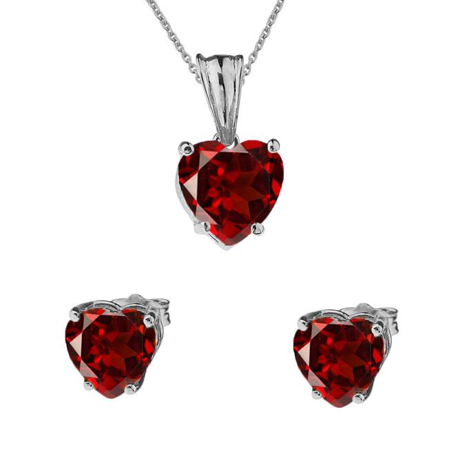 10K White Gold Heart January Birthstone Garnet (LCG) Pendant Necklace & Earring Set