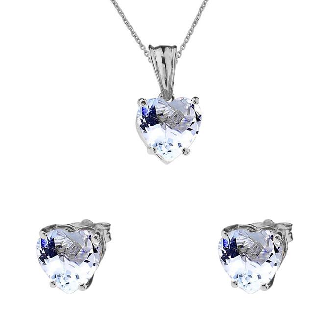 10K White Gold Heart March Birthstone Aquamarine (LCAQ) Pendant Necklace & Earring Set