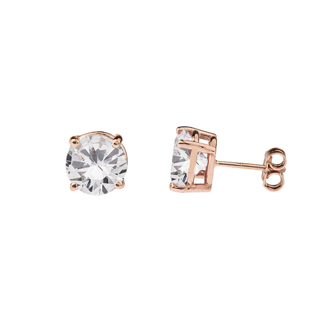 10K Rose Gold April Birthstone Cubic Zirconia (CZ) Earrings
