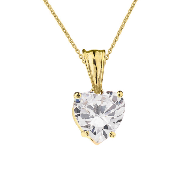10K Yellow Gold Heart April Birthstone Cubic Zirconia (C.Z) Pendant Necklace