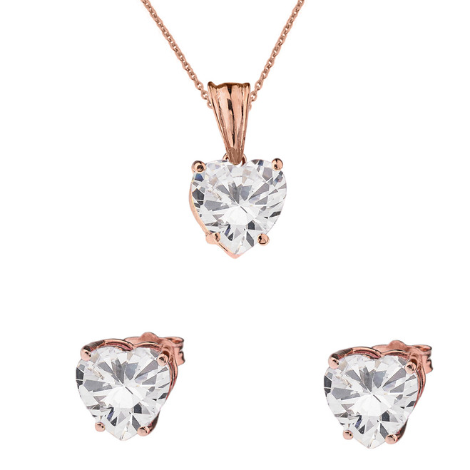 10K Rose Gold Heart April Birthstone Cubic Zirconia (C.Z) Pendant Necklace & Earring Set