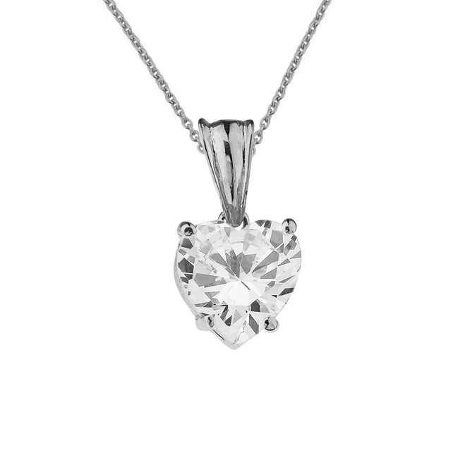 10K White Gold Heart April Birthstone Cubic Zirconia (C.Z) Pendant Necklace