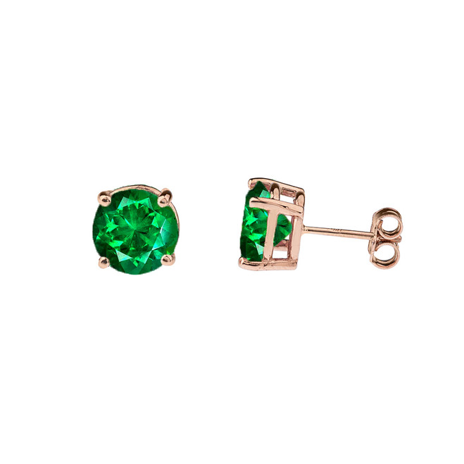 10K Rose Gold May Birthstone Emerald (LCE) Earrings