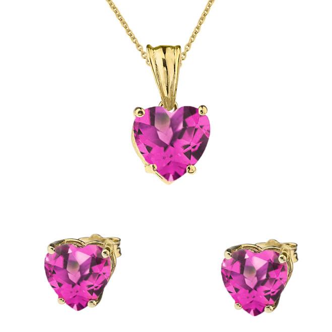 10K Yellow Gold Heart June Birthstone Alexandrite (LCAL) Pendant Necklace & Earring Set