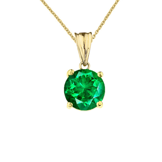 10K Yellow Gold May Birthstone Emerald (LCE)  Pendant Necklace