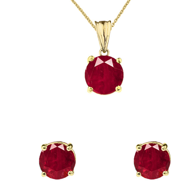 10K Yellow Gold July Birthstone Ruby (LCR) Pendant Necklace & Earring Set