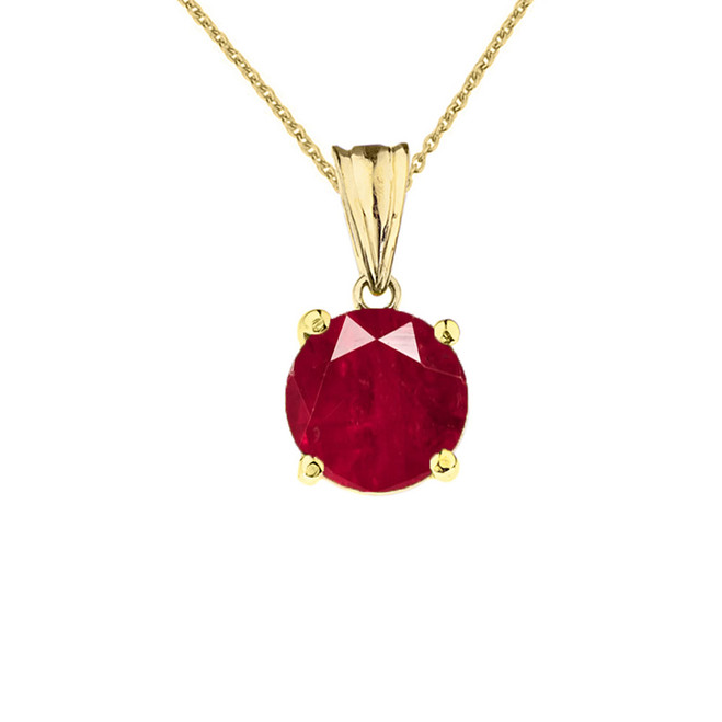 10K Yellow Gold July Birthstone Ruby (LCR)  Pendant Necklace