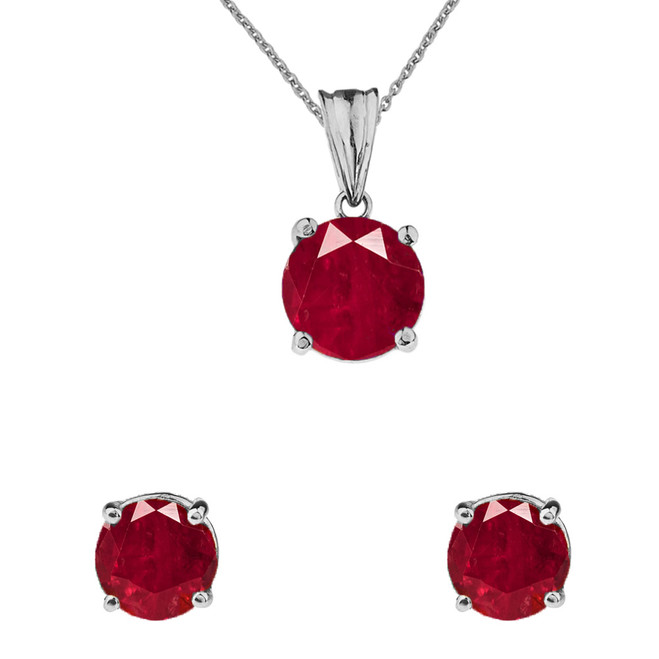 10K White Gold July Birthstone Ruby (LCR) Pendant Necklace & Earring Set