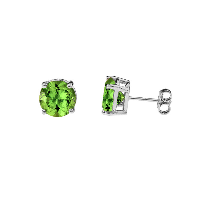 10K White Gold  August Birthstone Peridot (LCP)Earrings