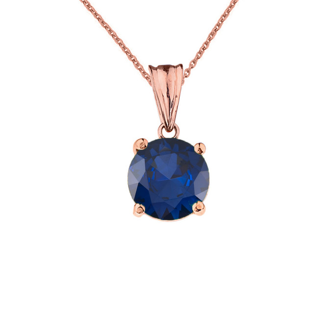 10K Rose Gold  September Birthstone Sapphire (LCS)  Pendant Necklace