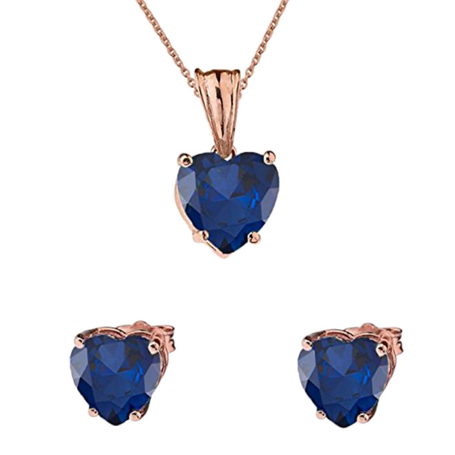 10K Rose Gold Heart  September Birthstone Sapphire (LCS) Pendant Necklace & Earring Set