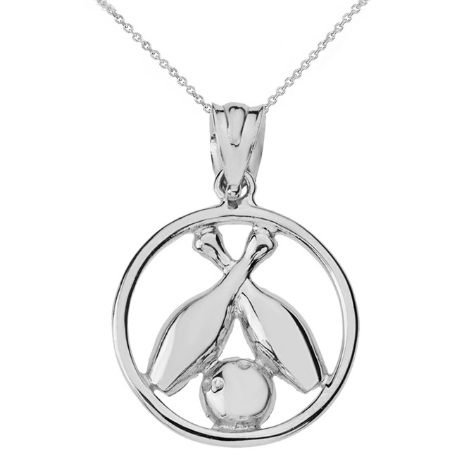 Solid White Gold Circle Bowling Pendant Necklace